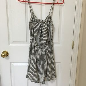 Topshop Striped Cutout tie Front Dress